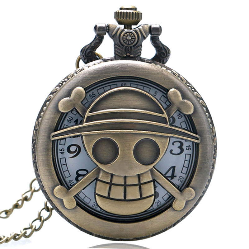 Bronze Hot Sale Japanese Animation One Piece Theme Hollow Skull Fob Quartz Pocket Watch With Necklace Chain Gift For Children