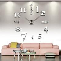 2016 Top Fashion Diy 3d Clock Watch Wall Clocks Acrylic Mirror Home Decoration Quartz Circular Needle Modern Metal Free Shipping