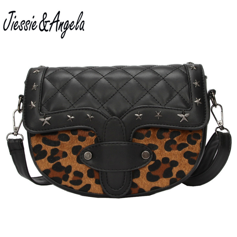 Jiessie&Angela Women Leopard Bag Leather Handbags Cross Body Shoulder Bags Fashion Messenger Bag Women Handbag Bolsas Femininas hot sale tassel women bag leather handbags cross body shoulder bags fashion messenger bag women handbag bolsas femininas