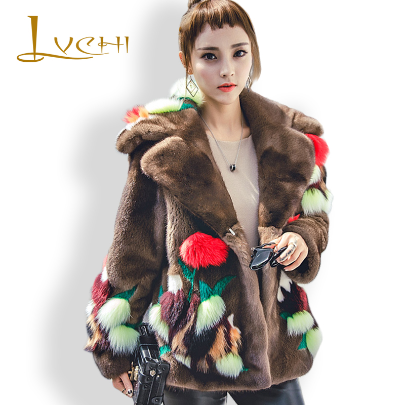 LVCHI 2017 New Denmark Mink Swan Velvet Women's Noble Floral Fox Real Fur Coat Leather Fur Leather Turn-Down Collar Mink Coat