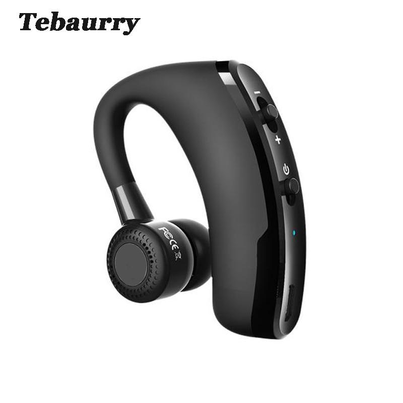 Tebaurry Handsfree Business Bluetooth Headset With Mic Voice Control Wireless Bluetooth Earphone Headphone Sports Music Earbud