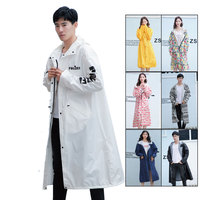 New Stylish men's high quality waterproof Adult Raincoat Outdoor women Long Style hooded rain coat with bag
