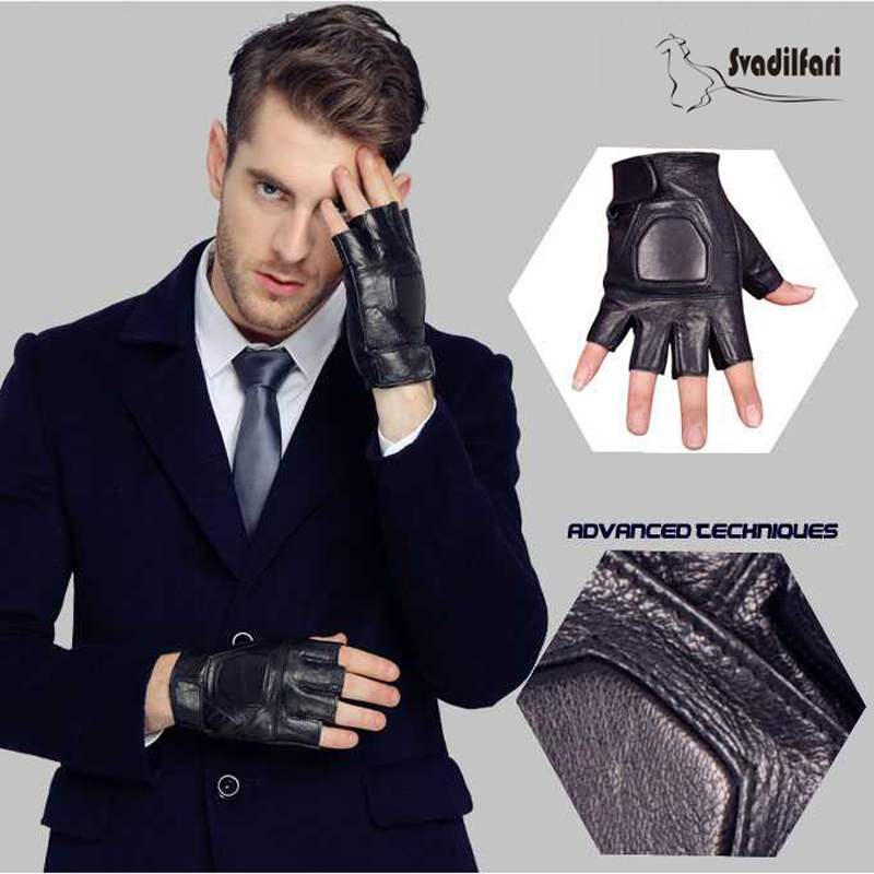 Svadilfari New 2019 Men's Fingerless  Real Goatskin Gloves Wrist Half Finger Gloves Fingerless Mittens Genuine Leather Gloves