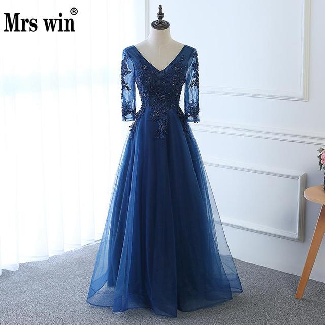 Hot Long Evening Dress Dark Blue Lace Embroidery 3/4 Sleeved Banquet Mother Of The Bride Dresses Robe De Soiree 1