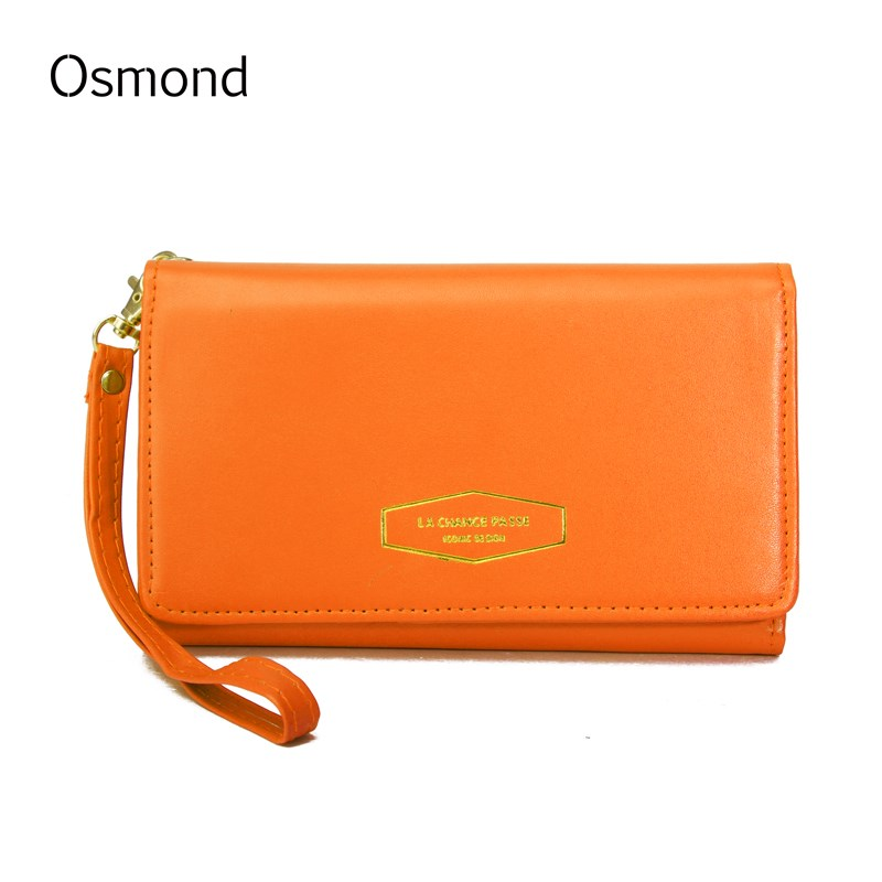 Osmond Womens Wallet Leather Wallets Long Purses Lady Card Holders Zipper Purse Casual Notecase Portable Pouch Solid Color