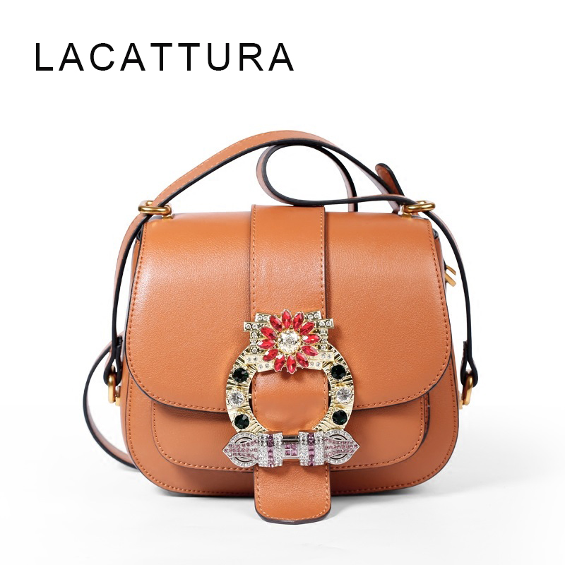 LACATTURA Luxury Crystals 2017 women bags designer genuine leather mochila bolso miu bag saddle handbag ladies shoulder bag lacattura luxury handbag chain shoulder bags small clutch designer women leather crossbody bag girls messenger retro saddle bag