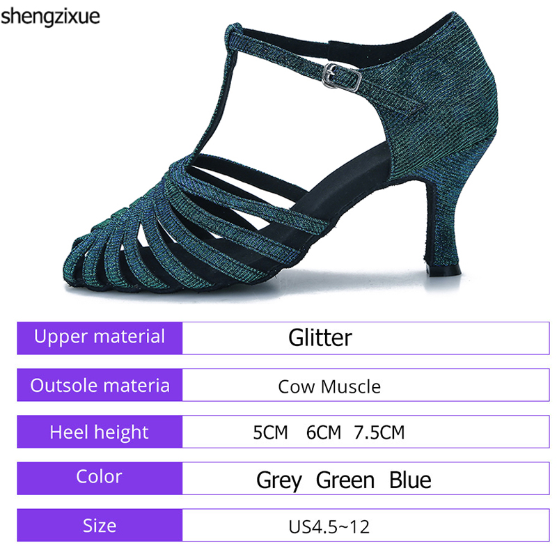 Detail Feedback Questions about shengzixue Women s Dance Shoes New Grey  Green Blue Glitter Dance Shoes International Latin Ballroom Dance Shoes on  ... 59b0ad0450ca