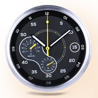 Thermometer Hygrometer Wall Clock Racing Car Dashboard Clock Large Round Modern Metal Auto Theme Watches Clock Supercar Gift