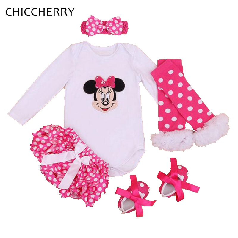 China Minnie Newborn Baby Girl Clothes Set Cartoon Bodysuit for Children Infant Jumpsuit Headband Dots PP Pants Body Bebe Outfit 4pcs set newborn baby clothes infant bebes short sleeve mini mama bodysuit romper headband gold heart striped leg warmer outfit