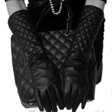 Windreama 40CM in Length Women Long Leather Gloves New Winter Fashion Black Bow Leather Gloves Warm Cute Dance 3 Sizes