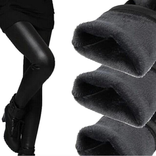 Искусственные Кожаные Штаны 2015 Женщин Зимние Черные Теплые Леггинсы Плюс размер Сексуальная Фитнес Девять на Флисовой Подкладке Леггинсы Дамы Push Up леггинсы