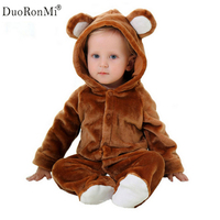 Spring Autumn Baby Clothes Flannel Pajamas Cosplay Bear Baby Boy Clothes Cartoon Animal Jumpsuit Costume Baby