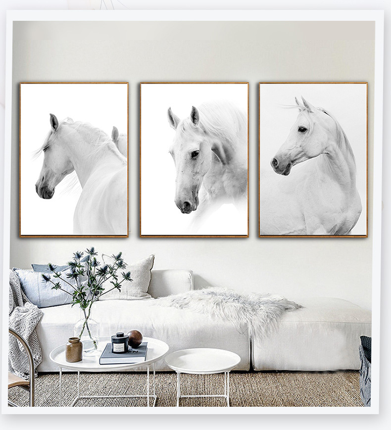 Art White Horse Painting Silk Canvas Poster Modern Nordic Decor Unframed A835