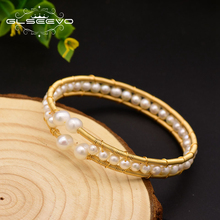 XlentAg Handmade Natural Freshwater Pearl Double Layer Bangle For Women Daughter Gift Fine Jewelry Bransoletki Damskie GB0112