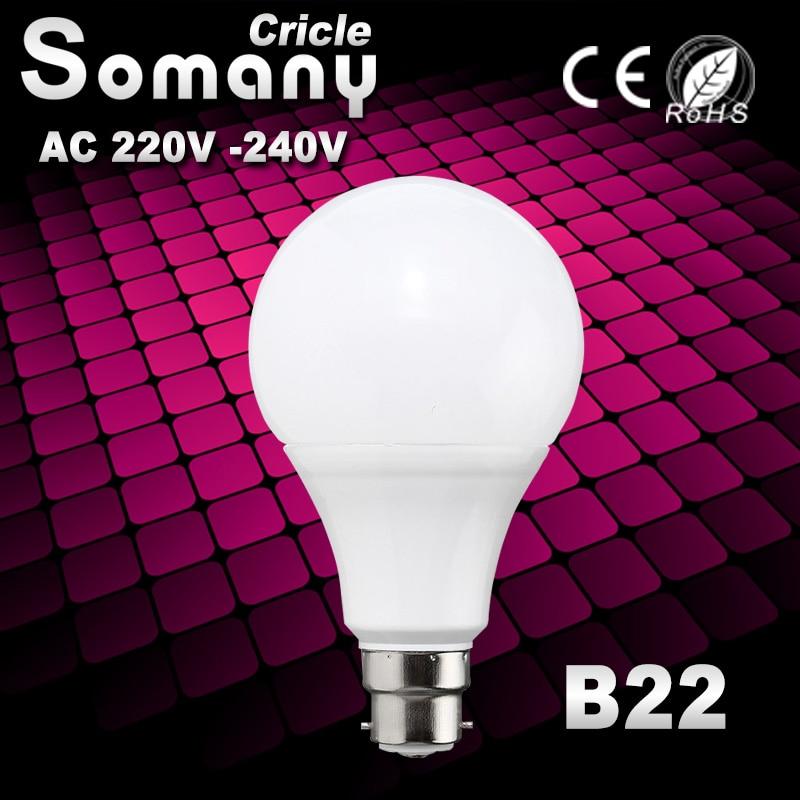 B22 Led Lamp SMD 2835 220V 230V 240V Real Power 3W 5W 7W 9W 12W 15W 18W High Brightness Lampada LED Bombillas B22 Spotlight Bulb led bulb 230v 220v 110v e27 e26 smd 2835 3w 5w 8w 10w 12w 15w led light led lamp led lampada aluminum cooling high brigh ball