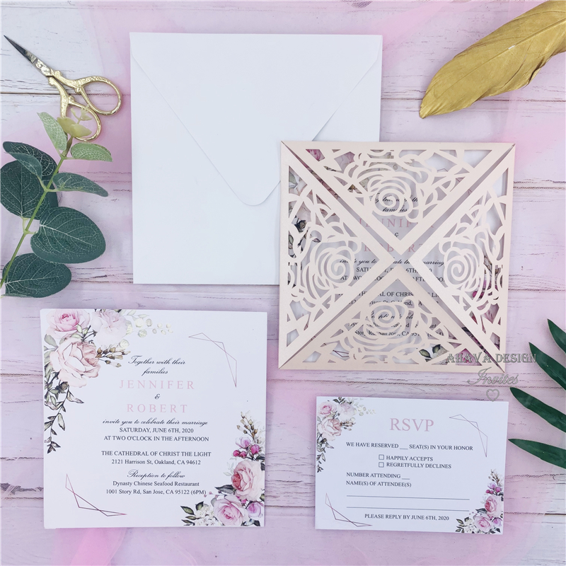 Geometric Blooms Pink Florals And Geometric Pattern Invitation With Blush Shimmer Laser Cut Fold