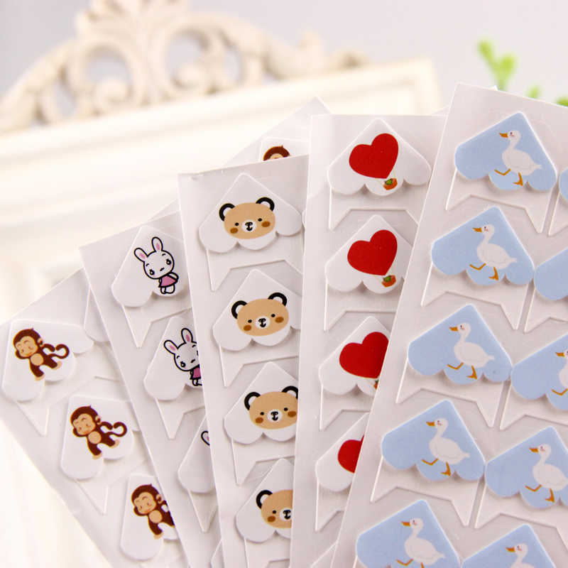 24 pcs/lot DIY Cartoon Cute Animals Corner Cute Paper Stickers for Photo Albums Frame Decoration Scrapbooking Wholesale 11 color