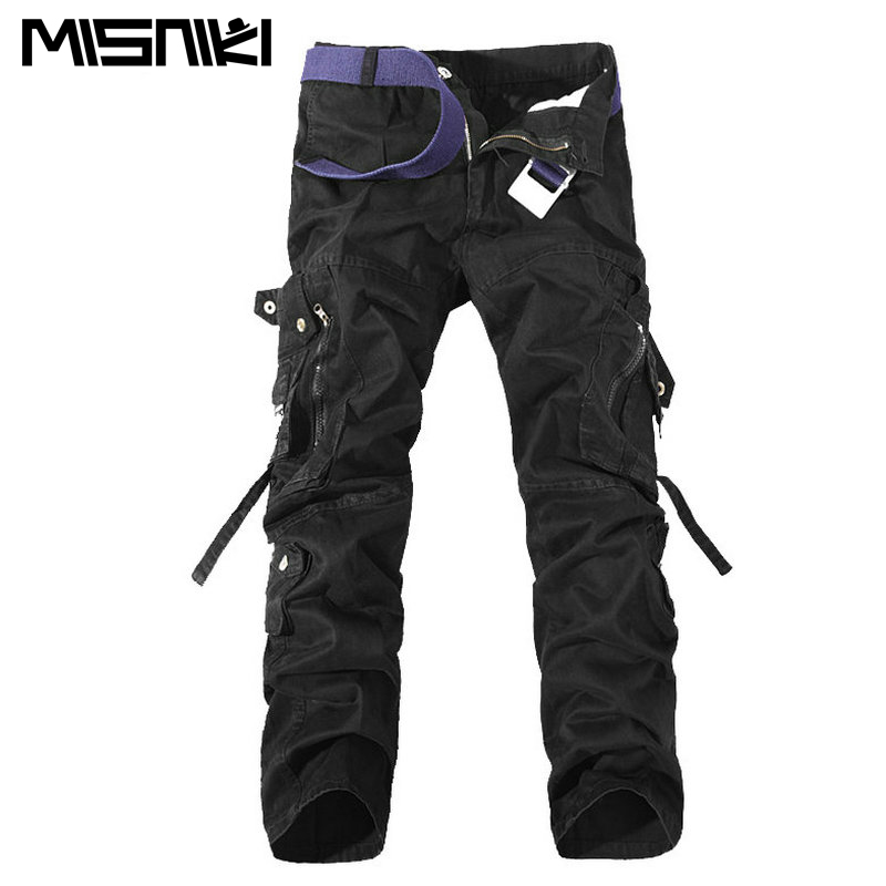 2015 Top Fashion Multi Pocket Solid Mens Cargo Pants High Quality Plus Size Men Trousers