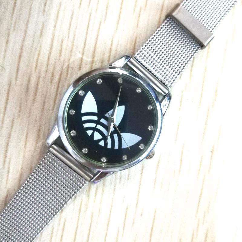 Nytt modemärke Genève klädblad Klocka rostfritt stål nätband - Damklockor