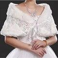 2016 Новый Блесток Теплый Искусственного Меха Красный Белый Болеро Свадебное Шали Обруча Свадебный Жакет Вечер Женщины Аппликация Свадебное Платки