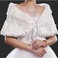 2016 New Sequin Warm Faux Fur Red WHite Bolero Wedding Wrap Shawl Bridal Jacket Evening Party Women Applique Bridal Shawls