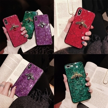 Luxury diamond metal Marble glitter bee silicone phone case for samsung galsxy note 9 8 s7 10 plus lite s7edge