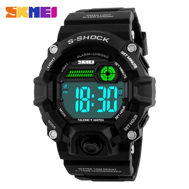 SKMEI 1162 Homens Sport Watch Russo Falando Cronometragem Digital Relógios Grande Mostrador do Relógio Ao Ar Livre Moda PU Strap relógios de Pulso Homem