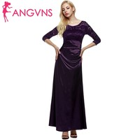 ANGVNS Lace Formal Long Dress Women Elegant 3/4 Sleeve High Waist Draped Maxi Long Dresses with necklace Party Vestidos Robe