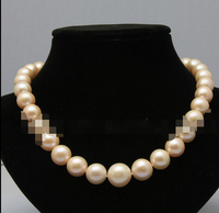 free shipping 0001323 lovely 11 13mm pink fresh water akoya pearls necklace
