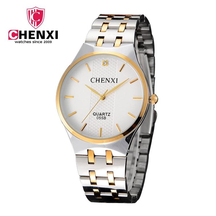 055b Chenxi Fashion Men's Woman Lovers Stainless Steel Wrist Watch Waterproof Business Quartz Watches Luxury Brands Male Clocks