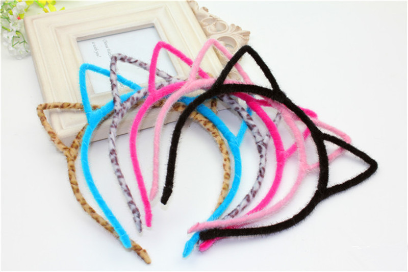 Cute 4pcs/lot Women Girls Hair Head Solid & Leopard Print Headband Cloth Rabbit Ears Hairband Hair Accessories Free Shipping