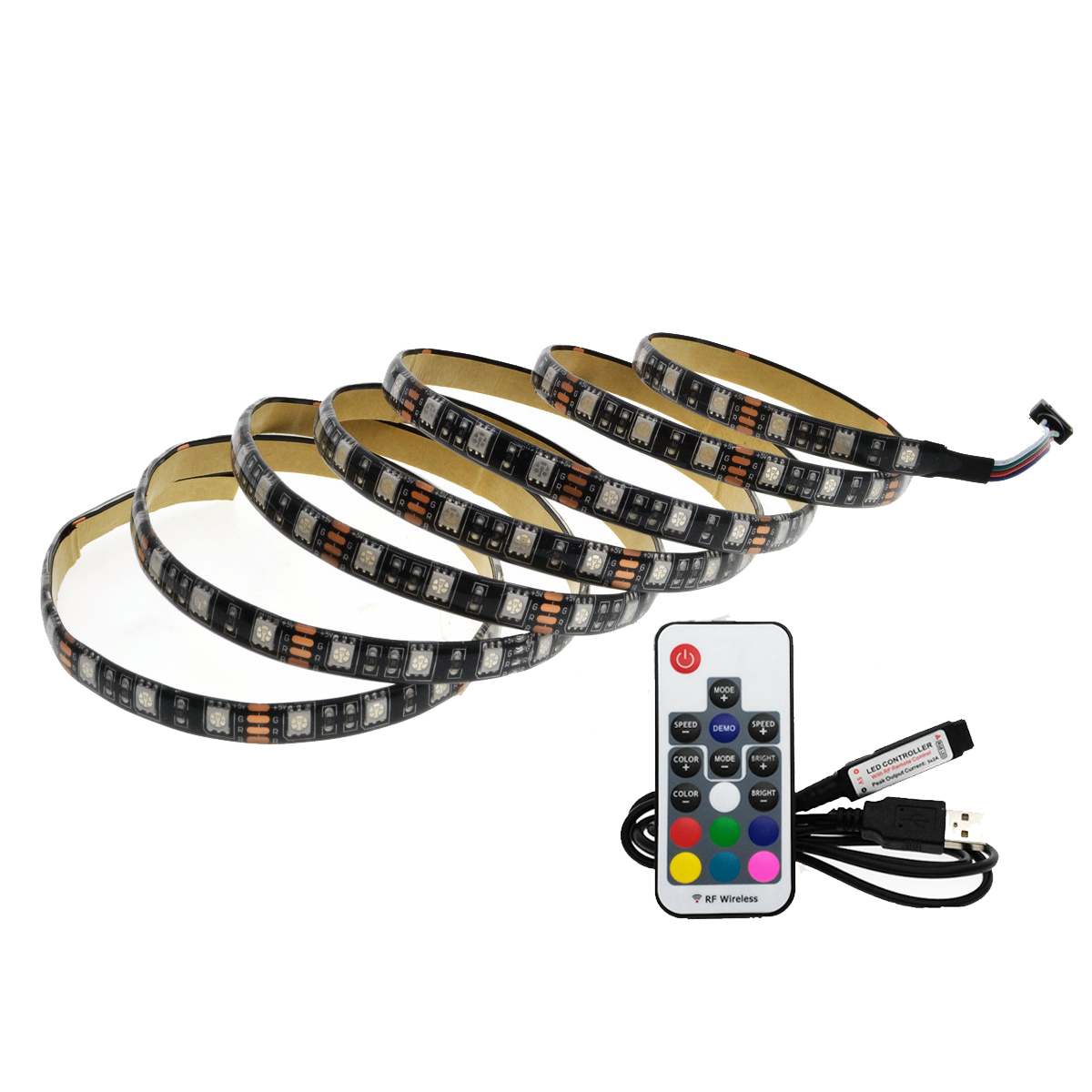 5050 RGB USB LED Strip 5V Black PCB TV Background Lighting With 17Key RF Controller
