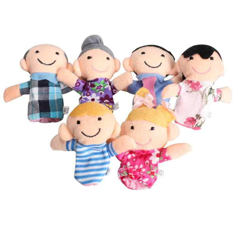 6Pcs/Set Family Characters Finger Puppets Lovely Plush Parent-Child Interaction Story Finger Puppet Funny Toy