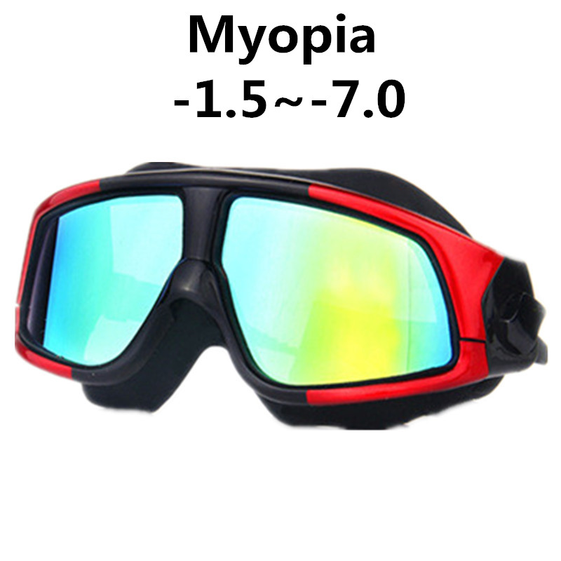 Swimming Goggles Silicone Frame myopia Swim Glasses Anti-Fog UV Men Women diopter Swim eyewear Mask Waterproof WAVE -1.5~-8.0