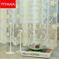 European Luxury Curtains Embroidered Pearl Flower Tulle For Living Room Beige Red Velvet Blackout Curtains For