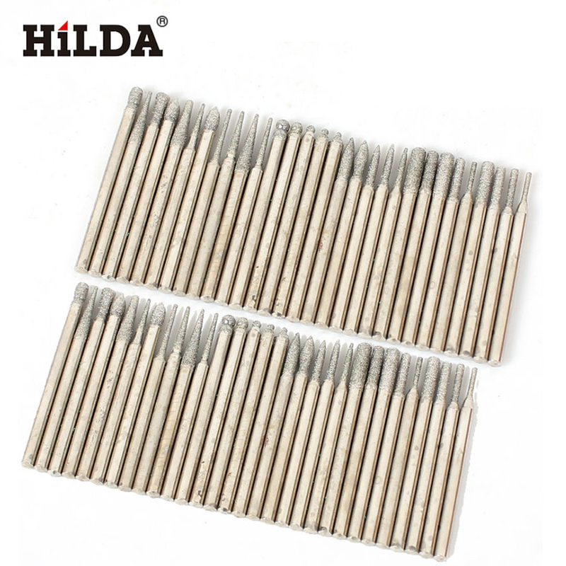 HILDA Diamond Grinding Heads 60pcs 3mm Burrs Bur Bit Set For Dremel  Tools Accessories Kit Mini Taladro Rotary Set