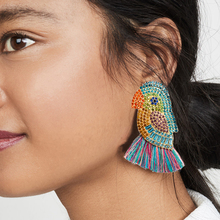 Full Rhinestone Animal Parrot Shape Dangle Earrings Multicolored Thread Statement Tassel Earrings for Women Wholesale Earrings все цены