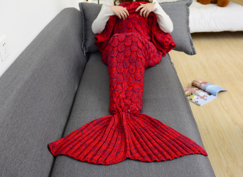 Image 2 - CAMMITEVER 180*90cm Big Mermaid Tail Blanket Crochet Mermaid Blanket for Adult, Soft All Seasons Sleeping Blankets-in Blankets from Home & Garden