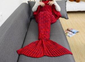 Image 2 - CAMMITEVER 180*90cm manta de cola de sirena de ganchillo manta para adulto de todas las estaciones manta para dormir