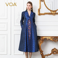 VOA Silk Jacquard Trench Women Plus Size 5XL Tunic Coat Navy Blue Single Breasted Long Sleeve Windbreaker Notched Collar F111