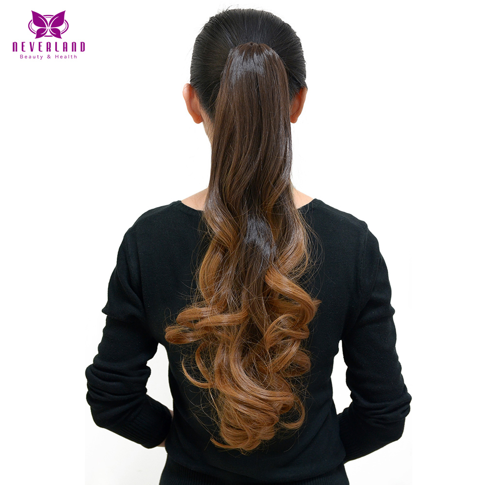 Neverland 20 Ombre Ponytails Hairpiece Wavy Heat Resistant Synthetic Claw On Hair Extensions Pony Tail for