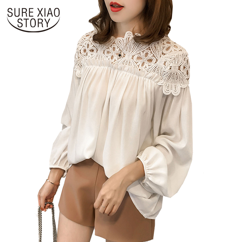 2017 new slash neck hollow lace women tops long sleeve casual loose womens clothing plus size women blouse shirt blusas D84 30