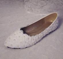 88f69f014 Cheia do laço Sexy flats shoes branco do laço do marfim pérolas romantic  lady sapatos de casamento da noiva vestido de dama de h.