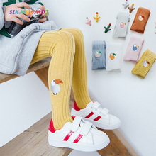SLKMSWMDJ Spring Autumn  Embroidered Childrens Pantyhose Cartoon Pattern Leggings Girls Suitable for 1-12 years old