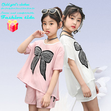 2019 Kids And Girls Clothes Summer Fashion Short-sleeved T-shirt Shorts New Pull Wind 4-12y Childrens Suit Comfortable Korean