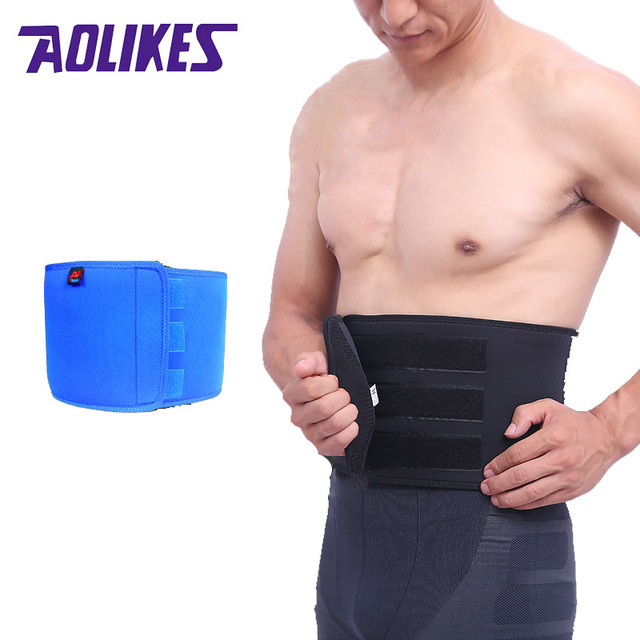 AOLIKES Men Adjustable Trainer Waist Support Fitness Belt Sport Protection Back Absorb Sweat Fitness Sport Protective Gear
