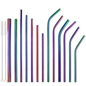 2 Pcs Colorful Rainbow Straw Set 304 Stainless Steel 16/19/21/23/26cm Straws 6/8/12mm Reusable Bent Metal Drinking Straw Brush