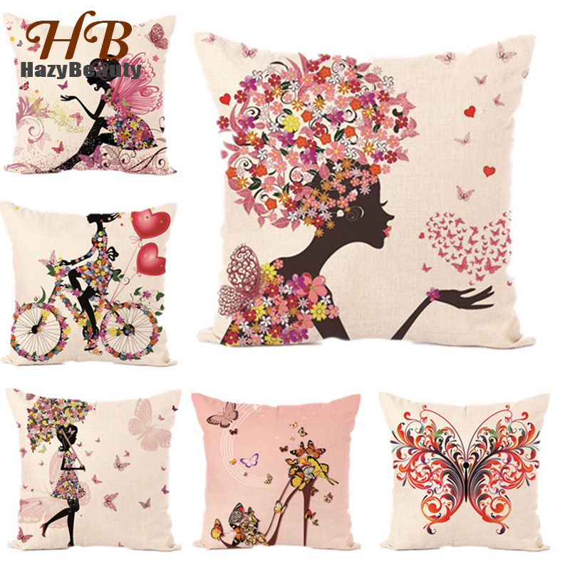18x18 Flower Butterfly Girl Cushion Covers Cotton Linen Pillow Covers Throw Wedding Decorative Pillowcase Flower Fairy Pillows