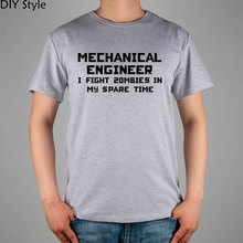 MECHANICAL ENGINEER I FIGHT 20MBIES IN MY SPARE TIME Humorous science TECHNOLOGY ENGINEER HUMOR male t-shirts t shirt men new