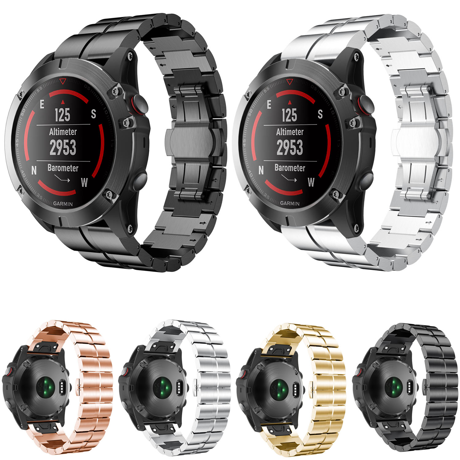 Quick Install Easy Fit Stainless Steel Watch Band for Garmin Fenix 3 Fenix 3 HR